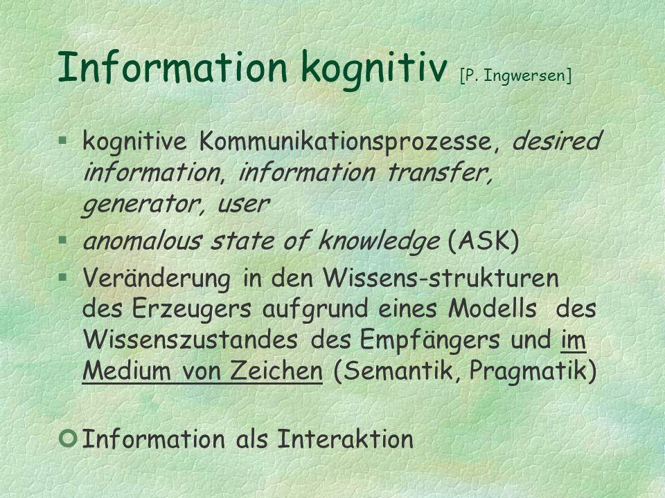 Information kognitiv [P. Ingwersen]